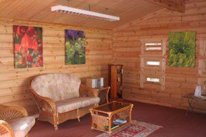 Log Cabin Interior, Living Room, Reading Corner