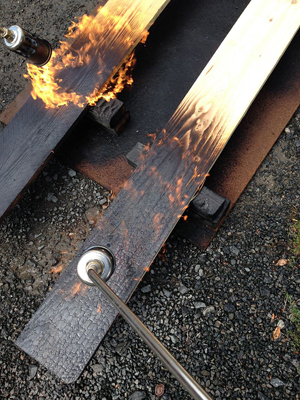 Timber Fire safety, Charring, Cedar Siding, Log Cabin